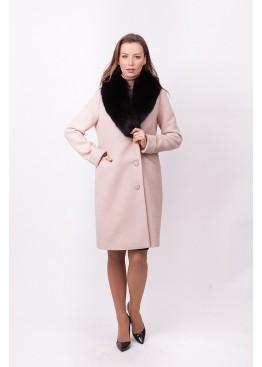 Пальто зимнее Винруж-2017 с мехом черного песца