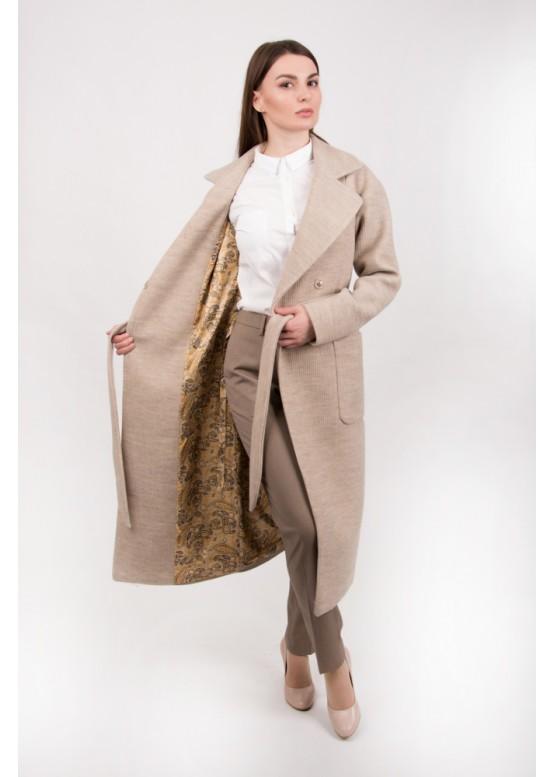 Пальто демисезонное Агата Беж вязаное