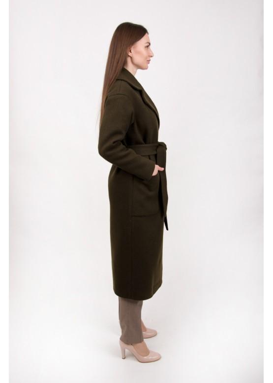 Пальто демисезонное Агата Хаки вязаное
