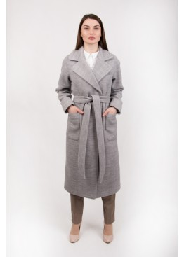 Пальто демисезонное Агата светло серое вязаное