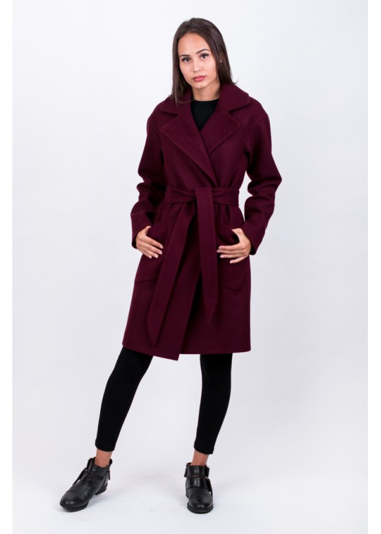 Пальто демисезонное Брайна бордо заказать в Москве