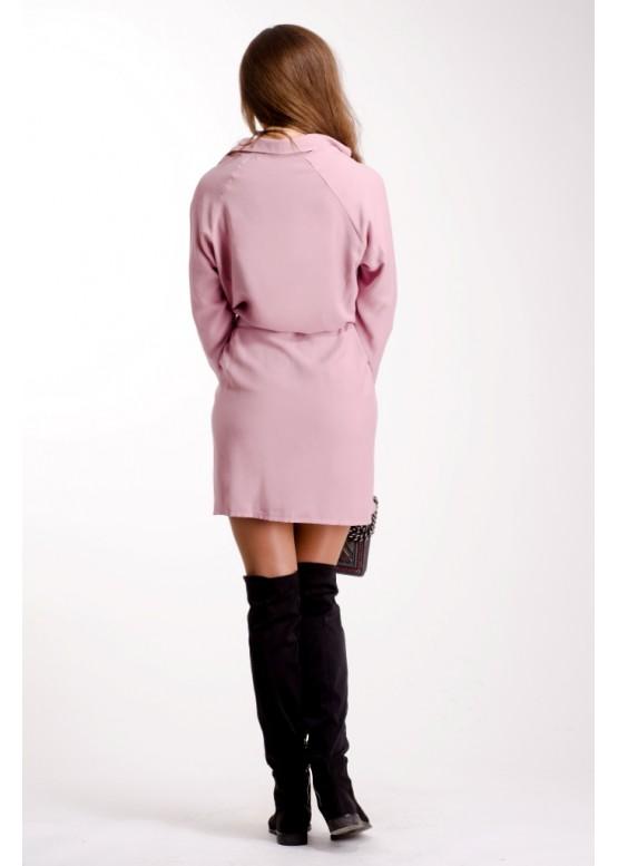 Платье-рубашка свободного кроя пудрово-розового цвета