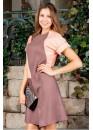Платье нежное летнее укороченное кофейное с нежно розовыми вставками