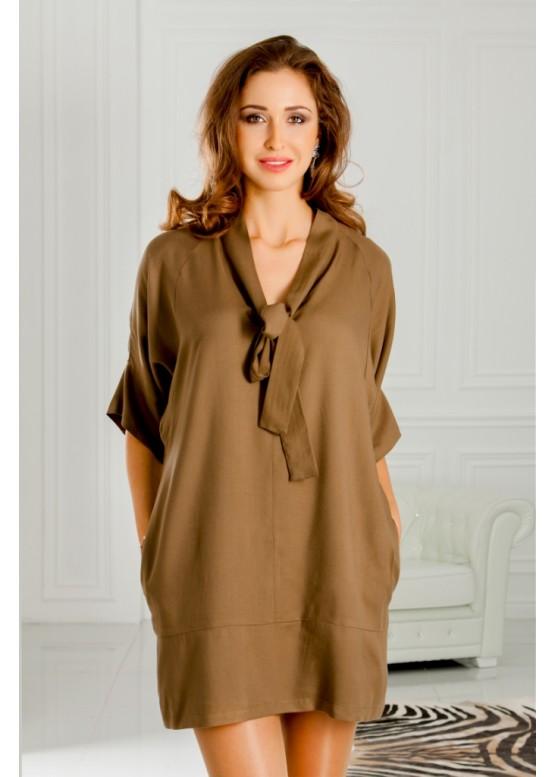 Платье короткое свободное цвета хаки