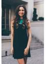 Платье летнее короткое черное с изумрудной вставкой