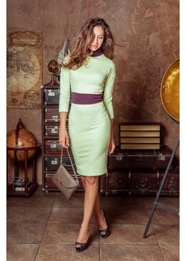 Платье классическое приталенное нежно зеленого цвета