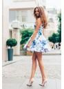 Платье-сарафан летнее  короткое с пышной юбкой белое с голубым принтом