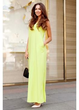 Платье летнее зеленое длинное свободного кроя с разрезами по бокам