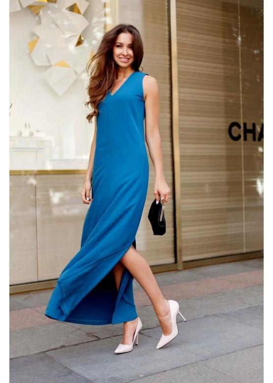 Платье летнее синее длинное свободного кроя с разрезами по бокам