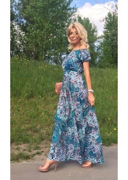 Платье-сарафан летнее с завышенной талией и открытыми плечами голубое