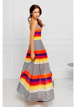 Платье летнее длинное приталенное в полоску кораллового цвета