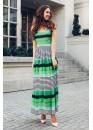 Платье летнее длинное приталенное в полоску зеленого цвета