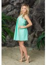 Платье летнее короткое мятного цвета с разноцветными вертикальными вставками