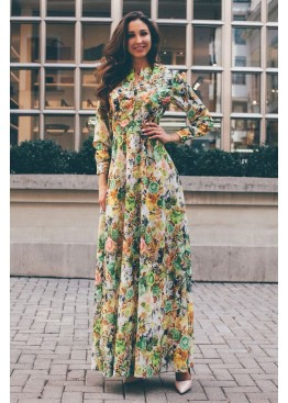 Платье летнее в пол с ярким принтом зеленое