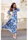 Платье летнее в пол с ярким принтом голубое