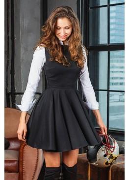 Платье-сарафан классическое приталенное с пышной юбкой черное