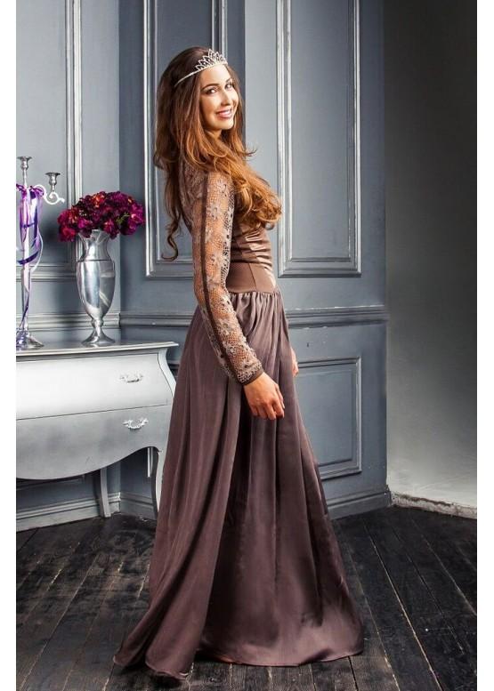Платье вечернее длинное с кружевом кофейного цвета