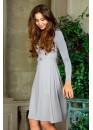 Платье с длинным рукавом приталенное с пышной юбкой серое