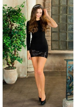 Платье короткое приталенное черное ассиметричного кроя с пайетками