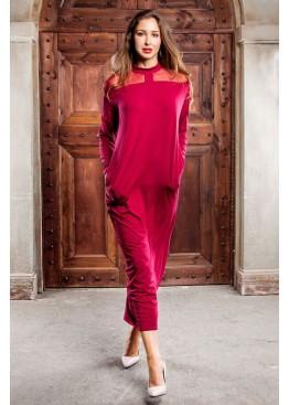 Платье свободного кроя  длинное винного оттенка