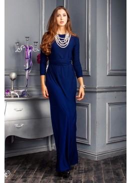 Платье вечернее в пол синее