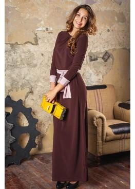 Платье длинное в пол кофейного цвета