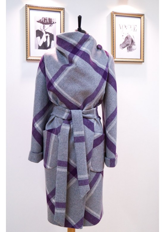 Пальто демисезонное Карим new клетка фиолет