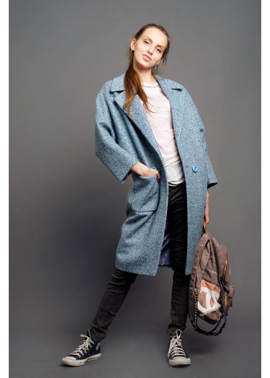 Пальто демисезонное Кэрри голубое