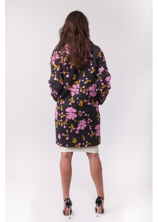 Пальто демисезонное Каиса Розовый цветок