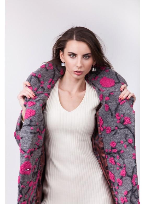 Пальто демисезонное Каиса Фуксия цветок