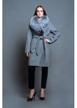 Пальто зимнее Серый Бархат