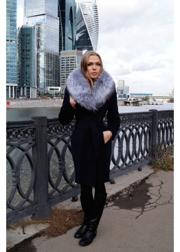 Пальто зимнее Синий Бархат