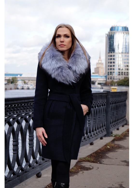 Зимнее женское пальто Синий Бархат купить в Москве 66a35938841