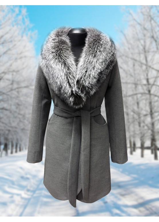 Пальто зимнее Дарси Серое