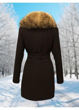 Пальто зимнее Дарси Шоколад Енот