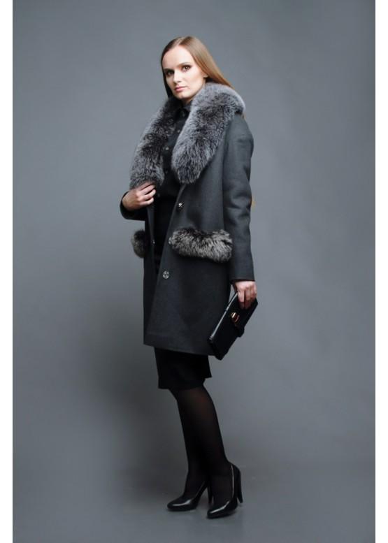 Пальто зимнее Фелиса Серое
