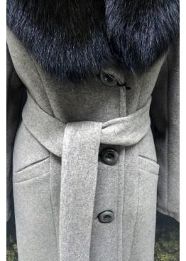 Пальто зимнее Карлин Серое Батала
