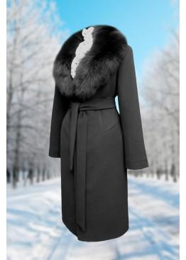 Пальто зимнее Карлин черный Батала