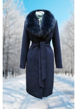 Пальто зимнее Карлин Синее Батала