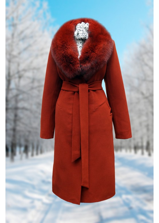 Пальто зимнее Карлин терракот Батала