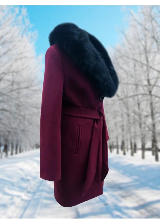 Пальто зимнее Классик Марсала Black