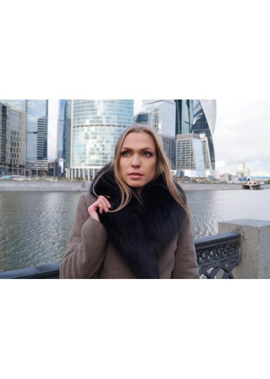 Пальто зимнее Классик Коричневый Сукно