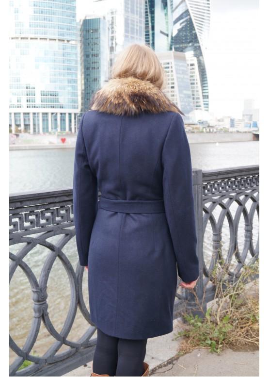 Пальто зимнее Понтик с мехом синего песца