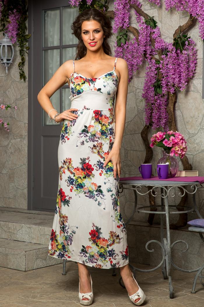 9ae5506ed99 Купить платье летнее длинное с цветочным принтом белое в Москве ...